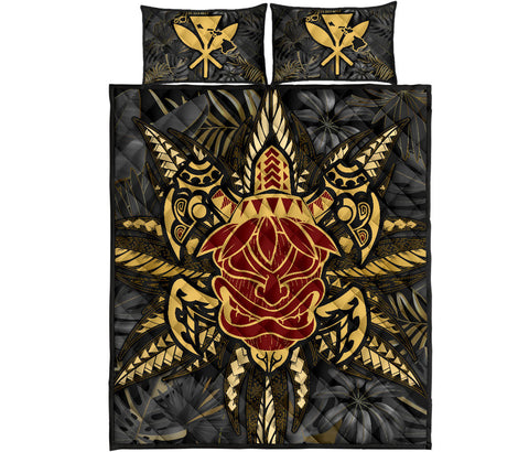 Hawaii Turtle Polynesian Tropical Gold Quilt Bed Set