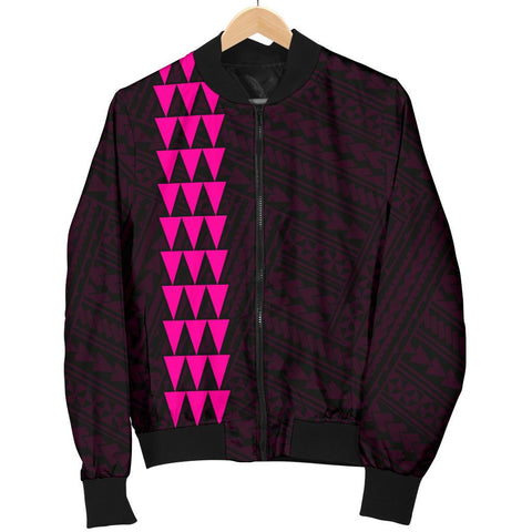 Image of Hawaii Kakau Polynesian Hammerhead Shark Men's Bomber Jacket - Pink - AH - J6 - Alohawaii