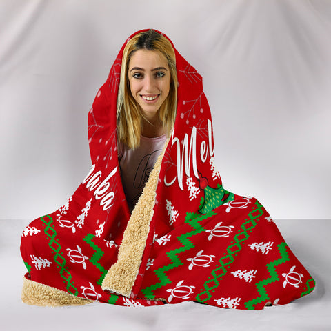 Image of Hawaiian Turtle Christmas Hooded Blanket - Felix Style - AH - J2