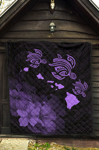 Hawaii Hibiscus Map Polynesian Ancient Turtle Purple Premium Quilt - AH - J14 - Alohawaii