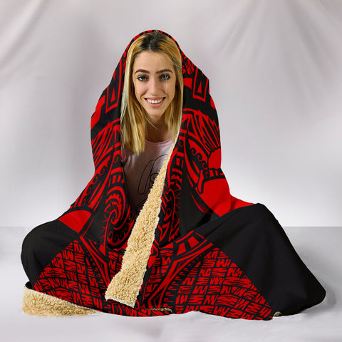 Image of Kanaka Map Polynesian Hooded Blanket - Red - Armor Style - AH J9