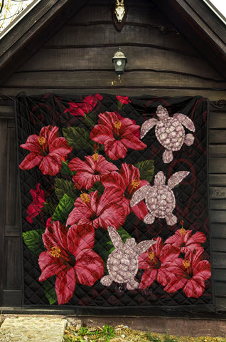 Hawaii Red Hibiscus Turtle Premium Quilt - AH - Ray Style - J5 - Alohawaii