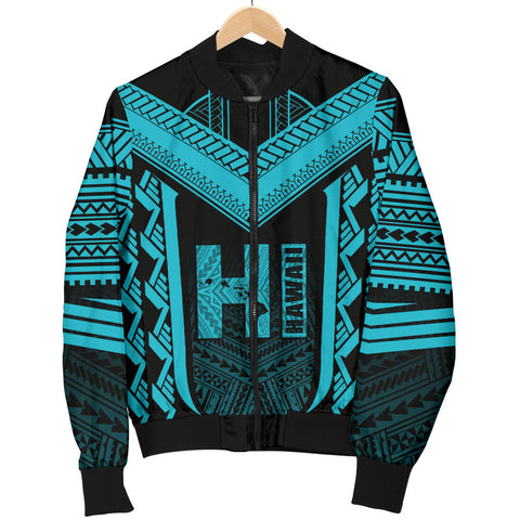 Hawaiian Kanaka Polynesian Men's Bomber Jacket Active Blue - AH - J77 - Alohawaii