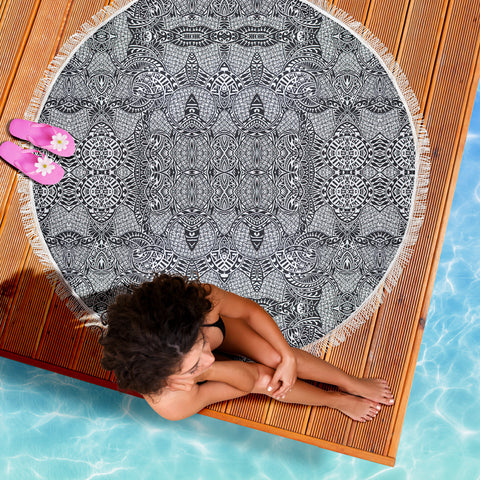 Image of Polynesian Beach Blanket Black And White - AH - J1