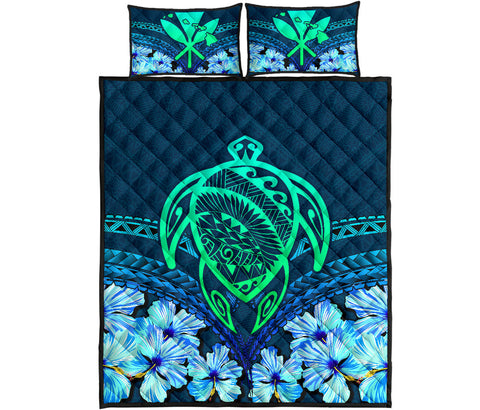 Image of Hawaii Turtle Hibiscus Quilt Bed Set