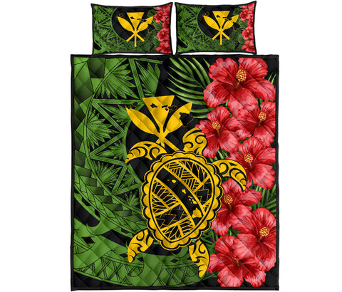 Hawaii Turtle Hibiscus Polynesian Quilt Bed Set - Aphos Style - AH - J4 - Alohawaii