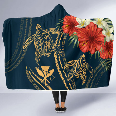 Hawaii Polynesian Turtle Hibiscus Hooded Blanket