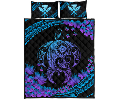 Hawaii Turtle Polynesian Hibiscus Quilt Bed Set