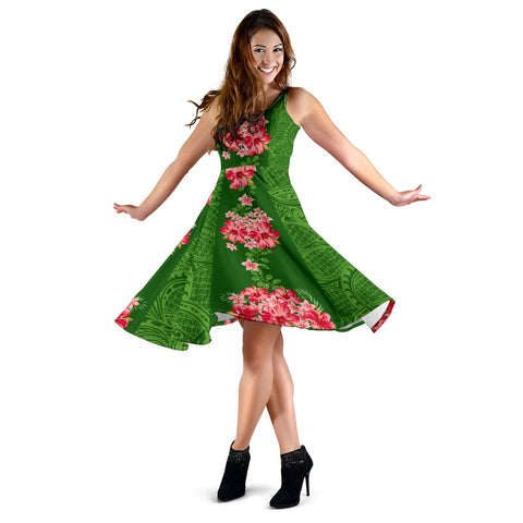Hawaii Tropical Flowers Polynesian - Hawaiian Midi Dress - Curtis Style - AH - J2