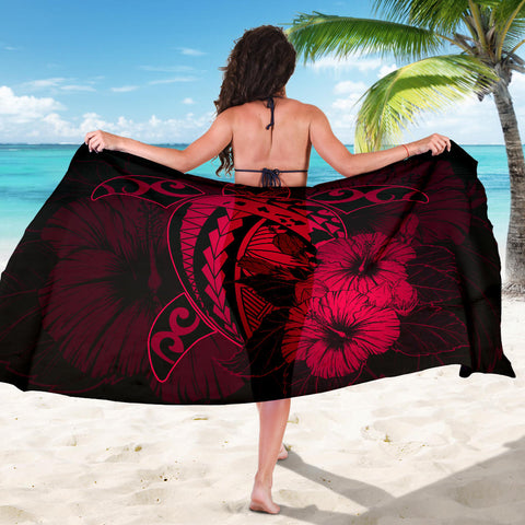 Image of Hawaii Hibiscus Sarong - Harold Turtle - Calico Red - AH J9