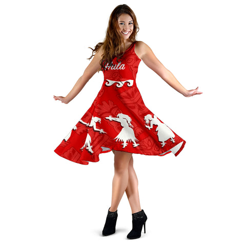 Hawaiian Hula Girls Dance in Red Midi Dress - AH J5 - Alohawaii