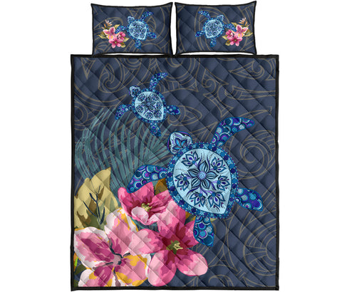 Hawaii Turtle Hibiscus Quilt Bed Set
