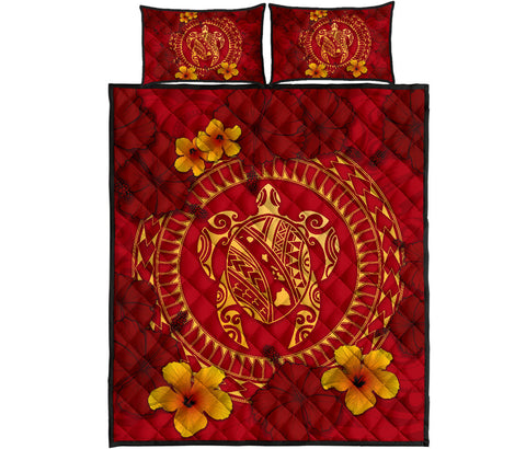 Hawaii Turtle Polynesian Quilt Bed Set