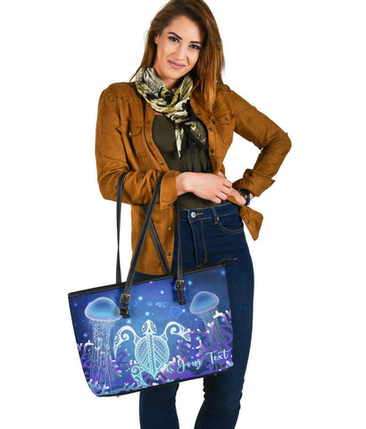 Personalized - Hawaii Turtle Jellyfish Coral Galaxy Large Leather Tote - AH - J4 - Alohawaii