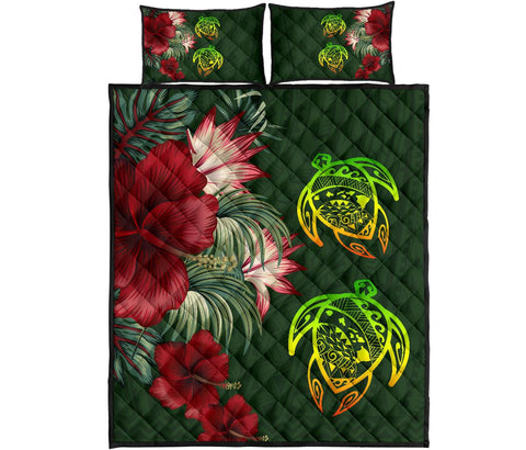 Hawaii Quilt Bed Set - Turtle Hibiscus Pattern Hawaiian Quilt Bed Set - Green - AH - J2 - Alohawaii