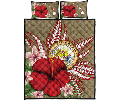 Hawaii Polynesian Coat Of Arm Tropical Quilt Bed Set
