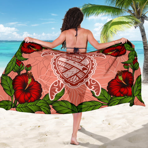 Hawaii Turtle Hibiscus Pink Sarong - Fide Style - AH - J4