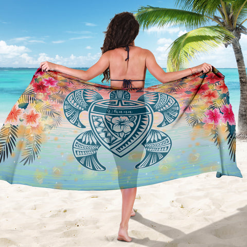 Hawaii Turtle Ohana Stary Night Hibiscus Sarong - AH - J4