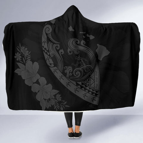 Image of Hawaii Hibiscus Banzai Surfing Hooded Blanket Grey - AH - J5 - Alohawaii