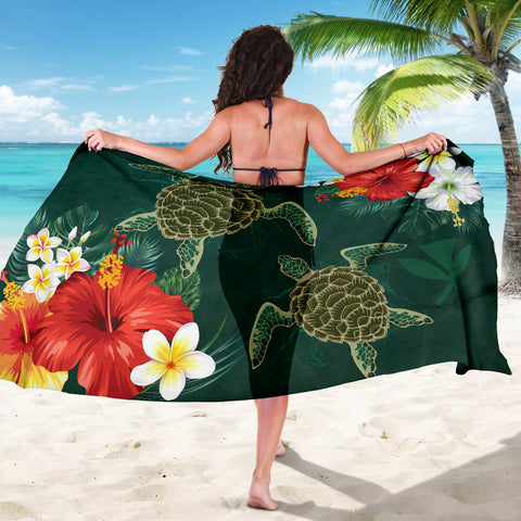 Hawaii Sea Turtle Hibiscus Plumeria Sarong - AH - J4 - Alohawaii