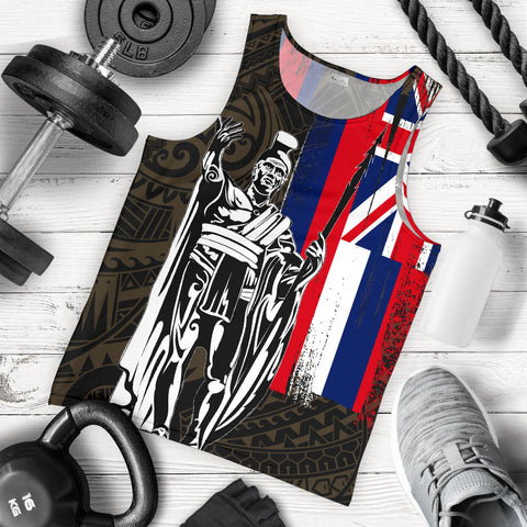 Hawaii King Flag Polynesian Men's Tank Top - Gold - AH J4