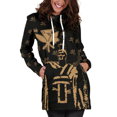 Hawaii King Kanaka Maoli Golden Women's Hoodie Dress - AH J1