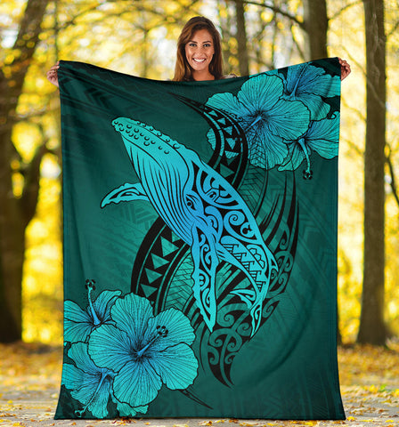 Image of Hawaii Whale Swim Poly Turquoise Premium Blanket - AH J9