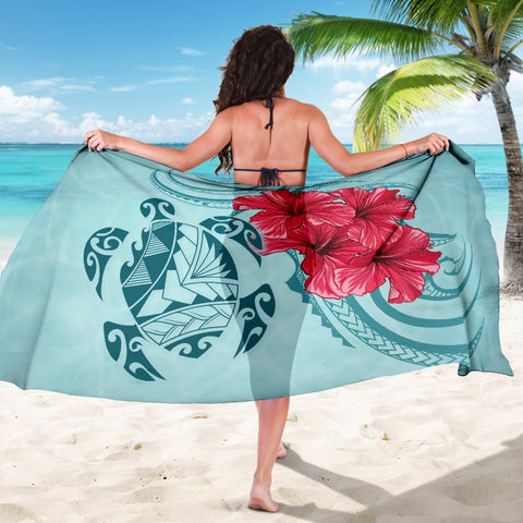 Hawaii Polynesian Turtle Hibiscus Blue Sarong - Bless Style - AH - J4