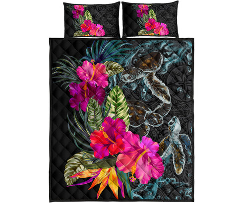 Polynesian Hibiscus Sea Turtle Quilt Bed Set