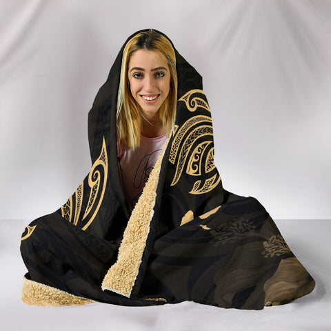 Hawaii Hibiscus Map Polynesian Ancient Gold Turtle Hooded Blanket - AH - J1 - Alohawaii