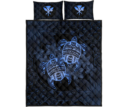 Alohawaii Quilt Bed Set - Turtle Strong Pattern Hibiscus Plumeria Blue AH J1