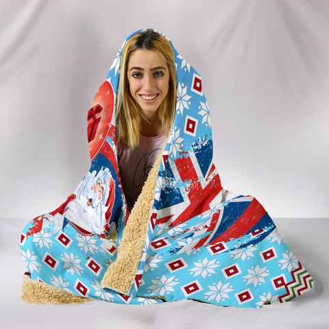 Hawaii Flag Santa Claus Pattern Christmas Hooded Blanket - Noel Style - J3