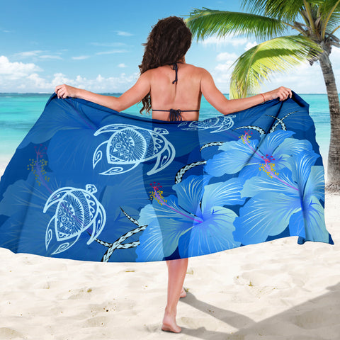 Image of Hawaii Blue Hibiscus Turtle Polynesian Sarong - AH - J4