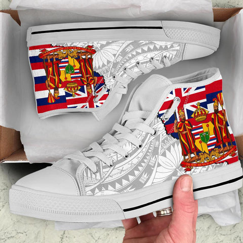Hawaii High Top Shoes State Royal Flag Polynesian White Pride AH J1