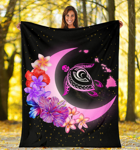 Hawaii Map Moon Star Turtle Plumeria Hibiscus Premium Blanket - AH - J5