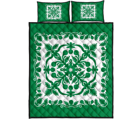 Hawaii Quilt Bed Set Royal Pattern - Green And White - AH - J6 - Alohawaii