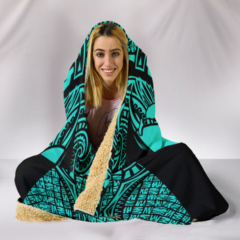 Image of Kanaka Map Polynesian Hooded Blanket - Turquoise - Armor Style - AH J9