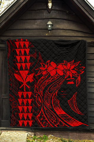 Hawaii Map Kanaka Polynesian Hula Girl Premium Quilt - Red - AH - J5