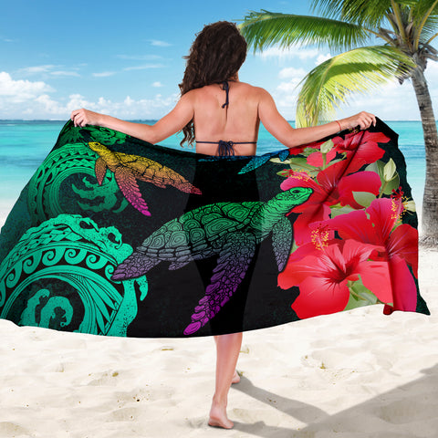 Image of Hawaii Turtle Wave Hibiscus Sarong - Unia Style - AH - J4