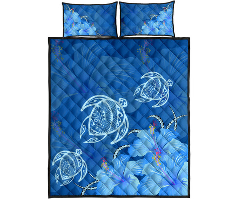 Hawaii Blue Hibiscus Turtle Polynesian Quilt Bed Set