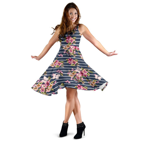 Hawaii Tropical Butterfly Pink Midi Dress   - AH - J71