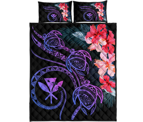 Hawaii Turtle Polynesian Tropical Quilt Bed Set