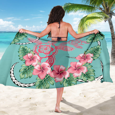 Hawaii Tropical Hibiscus Turtle Mint Style - Sarong AH J2