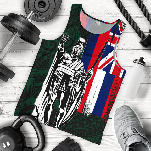 Hawaii King Flag Polynesian Men's Tank Top - Green - AH J4