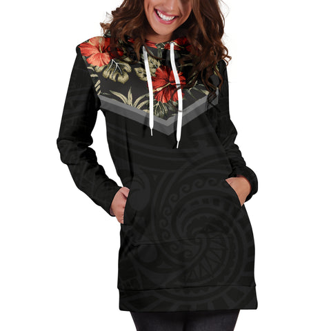Hawaiian Hibiscus Hoodie Dress For Women