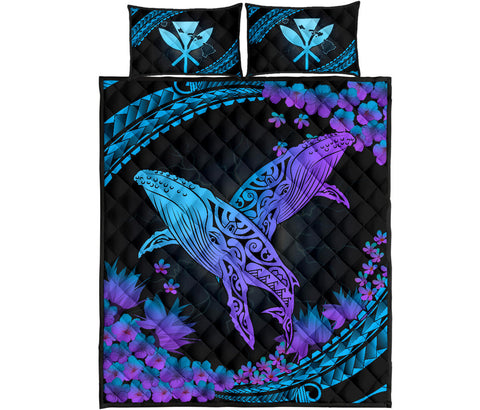 Hawaii Whale Polynesian Hibiscus Quilt Bed Set