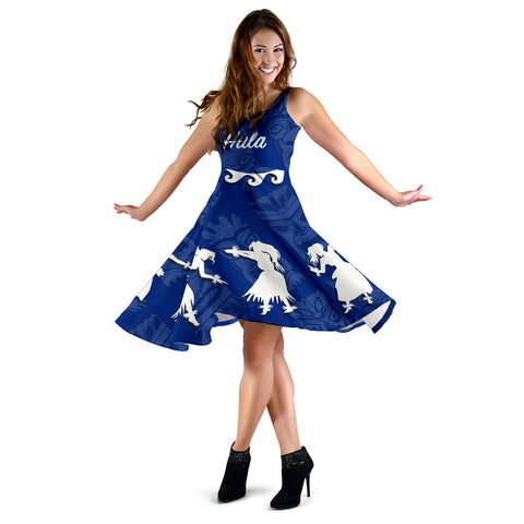 Hawaiian Hula Girls Dance in Blue Midi Dress - AH J5 - Alohawaii