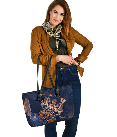 Hawaiian Large Leather Tote - Indigo