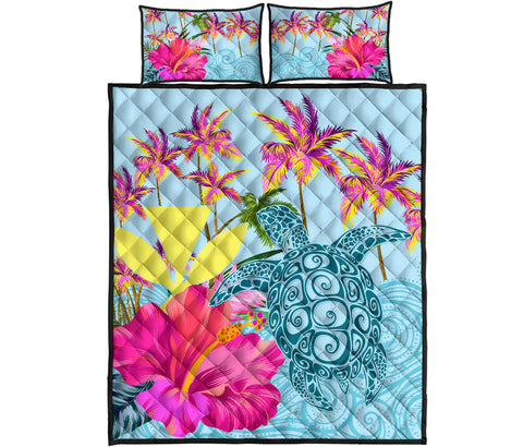 Hawaii Sea Turtle Hibiscus Kanaka Quilt Bed Set