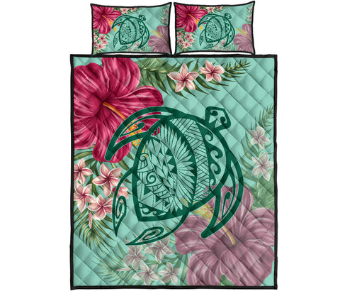 Hawaii Turtle Hibiscus Plumeria Quilt Bed Set - Hug Style